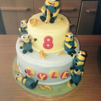 Childs Birthday Cake   minions two tier birthday cake