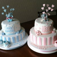 Christening Cakes   Christening cakes for brother and sister. Handmade models