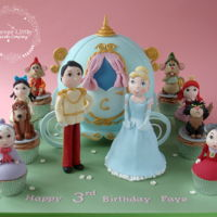 "Cinderella Cake 8"" ball carriage cake, with matching character cupcakes. Absolutely loved making this!"