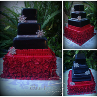 Classically Modern 4 Tier Ruby Red And Black Ruffle Cake This was done for a 40th wedding anniversary.