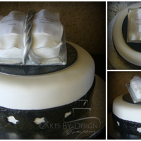 Confirmation Cake   A Red velvet Black, white and Silver confirmation Cake