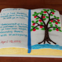 Confirmed In Christ Lemon cake, raspberry filling, lemon SMBC, MMF decos, chocolate bark tree trunk. Tree with confirmand's initials on trunk represent...