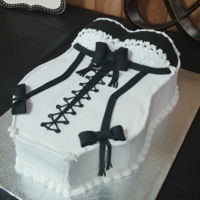 Corset Cake Bridal Shower Black and White Corset Teddy Cake. Vanilla Cream cake with butter cream and fondant black accents.