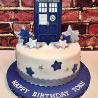 Dr. Who Tardis Cake Birthday Cake for Dr. Who fan. I made the Tardis from RKT covered in fondant. I used black luster dust on the Tardis to give it a weathered...
