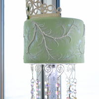Elegant Bat Mitzvah Cake A 4 tier Bat Mitvah cake based on various techniques by Mich Turner. Bottom tier was piped using the Queen Elizabeth Diamond pattern, the...