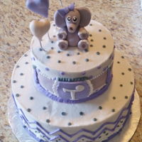 Elephant Baby Shower Vanilla cream cake with buttercream icing and home made fondant accents.