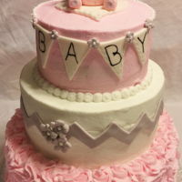 Elephant Chevron Baby Shower Vanilla Cream Cake with butter cream and fondant decorations and bear.