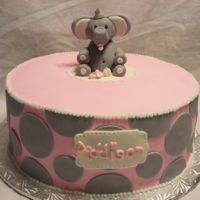 Elephant Polka Dots Baby Shower Vanilla Cream Cake with butter cream and fondant decorations