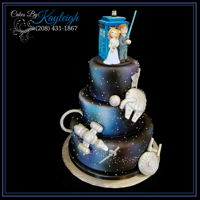 Fandom Wedding Cake Wedding cake created to show the shared interests of the bride and groom. This cake depicts parts of Star Wars, Dr. Who, Star Trek,...