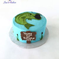 Fishing Birthday Cake Buttercream iced cake