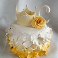 "Fit For A Princess   6"" fondant petal covered cake with gum paste crown, rose and initial"