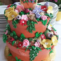 Flower Pot Cake Flower Pot Cake with flowers. Vanilla cream cake with buttercream icing covered in home made marshmallow fondant make the pots. Fondant...
