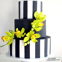 Green Orchid Spring/summer Cake This cake was for a fresh and modern bridal cake. A branch of bright green orchids made from Nicholas Lodge gumpaste set against a...