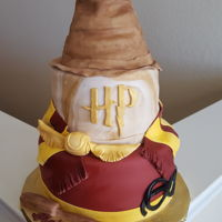 Harry Potter Cake 2 Tier Harry Potter birthday cake with sorting hat made of rice krispy treats. Wand, golden snitch, glasses and scarf all made of MMF.