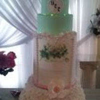"Holy Matrimony 6 tier wedding cake with a 12"" high barrel done in ivory, peach & mint green. The icing image can be filled out with the couples..."