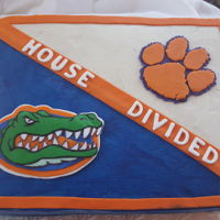House Divided Groom's Cake This was the groom's cake for my first ever wedding order. The bride is a Florida Gators fan (boo!) and the groom is a Clemson fan, so...