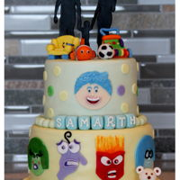 Inside Out Cake !!   A 1st B'day cake which has emotions & favorite toys of the b'day boy !!
