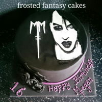 Marilyn Manson Cake A simple cake with the image of marilyn manson and logo