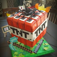 Minecraft Minecraft cake. Modeling chocolate for decor and tiles, liquorice and red velvet cake.