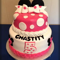 Minnie Mouse Birthday WASC cake, buttercream, and MMF