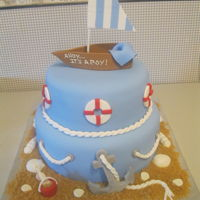 Nautical Baby Boy Shower Cake 10 inch bottom layer, 8# top layer covered with fondant. Accents made from fondant, except the anchor was cardboard painted with silver...