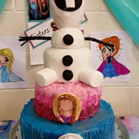 Olaf Cake Olaf cake and layers for Elsa and Anna