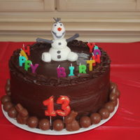 Olaf Chocolate Cake All chocolate cake for my teenager, the chocolate balls on the bottom are lindt chocolate, her favorite. Olaf if made completely with...