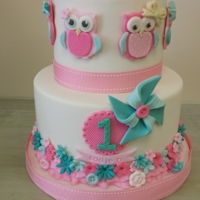 Owl Themed Birthday Cake Two tiered owl themed cake