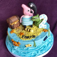 Peppard Pig Pirate Cake Fun pepper pig pirate cake. Plain sponge covered in guanche and fondant