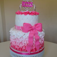 Pink Frilly Birthday Princess Cake   Pink ombre fondant cake with frills and bow