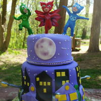 Pj Masks Birthday Cake. For a gitl who loves PJ Masks. I tried to find the toy figurines, but the cartoon is so new, they don't have them yet for sale! So I...