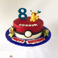 Pokemon Birthday Cake Buttercream iced cake with modeling chocolate characters