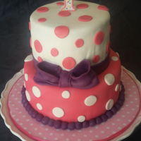 Polka Dots First Birthday Pink, white and purple polka dots cake for my God daughter first birthday.
