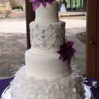 Pulled Sugar Feathers 300 pulled sugar feathers are on this wedding cake!