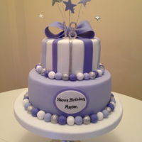 Purple And Lavender Birthday Cake   Purple and lavender 18th birthday cake with bow and stars