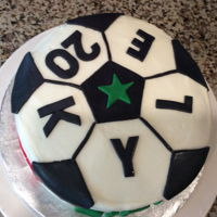 Quick Soccer Ball Cake Red velvet cake with cream cheese frosting. Cut out black soccer ball 5 side with a cookie cutter. Then added black lines to make the...
