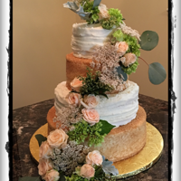 Rustic Wedding Cake WASC cake, crusting cream cheese icing, and turbinado sugar for decoration on 2 tiers