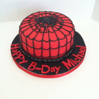 Spider Man   Red Velvet with cream cheese icing and fondont