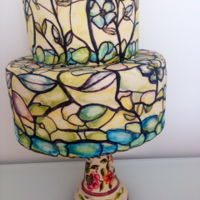 "Stained Glass Cake  Based on Maggie Austin's wonderful online tutorial, ""Decorating in three Dimensions"", this was my first stained glass cake...."