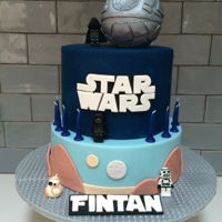 "Star Wars 7"" gluten free dark chocolate mud cake with dark chocolate ganache. The base layer is a 9"" dummy cake covered in fondant as is..."