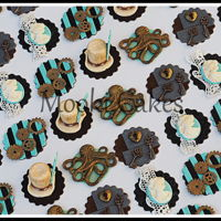 Steampunk Cupcake Toppers Steampunk cogs, keys, octopus, lace and cameo cupcake toppers.