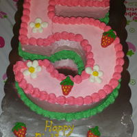 Strawberry Shortcake A number 5 strawberry shortcake inspired cake