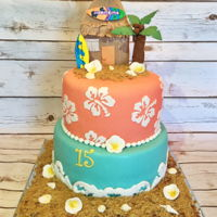 Surf Shack Birthday Cake Two tier cake featuring gum paste palm tree, surf shack, surf boards