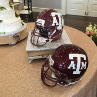 Texas A&m Football Helmet Groom's Cake Fondant covered replica of the groom's actual helmet from when he played college football.