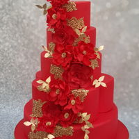 The Red Wedding Cake a red wedding cake with peonies and red fantasy flowers