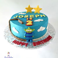 Toy Story Birthday Cake Buttercream iced cake with fondant details