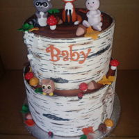 Woodland Creatures Baby Shower Loving the birch bark cake trend. My first time trying it. The bark is modeling chocolate and the woodland creatures are gumpaste. Now I...