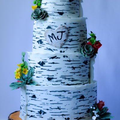Birchwood Wedding Cake At Bamboo Gallery
