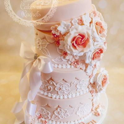 Pretty Peach Celebration Cake