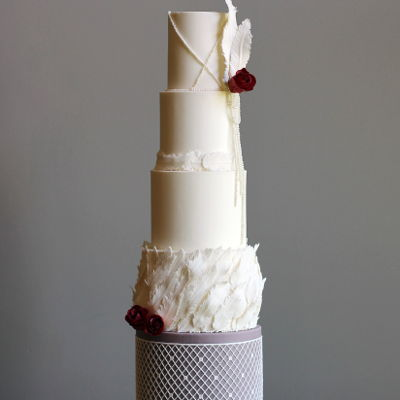 Vintage Feather Wedding Cake